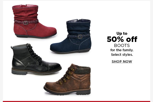 up to 50% off boots for the family. shop now.
