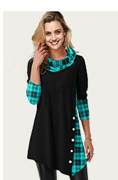 Cowl Neck Plaid Print Asymmetric Hem T Shirt