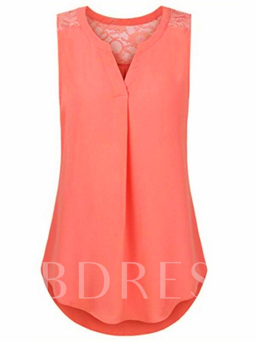 Lace Patchwork Sleeveless Solid Color Women's Blouse