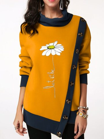 Flower Pile Collar Button Asymmetrical Sweatshirt