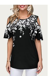Cold Shoulder Flower Print Black Blouse