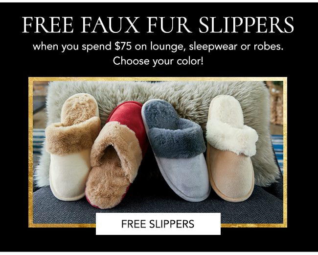 Free faux fur slippers