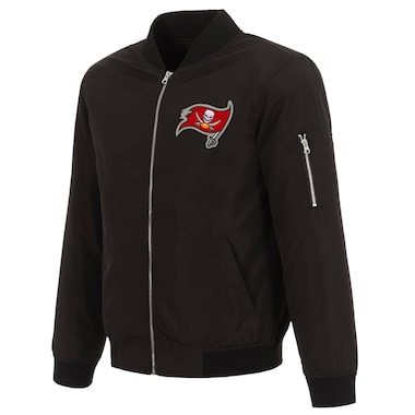 Tampa Bay Buccaneers NFL Pro Line by Fanatics Branded Nylon Full-Zip Bomber Jacket - Black