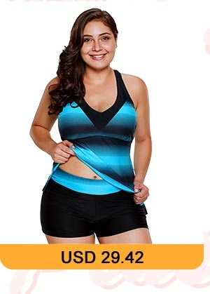 Plus Size Criss Cross Back Striped Tankini Set