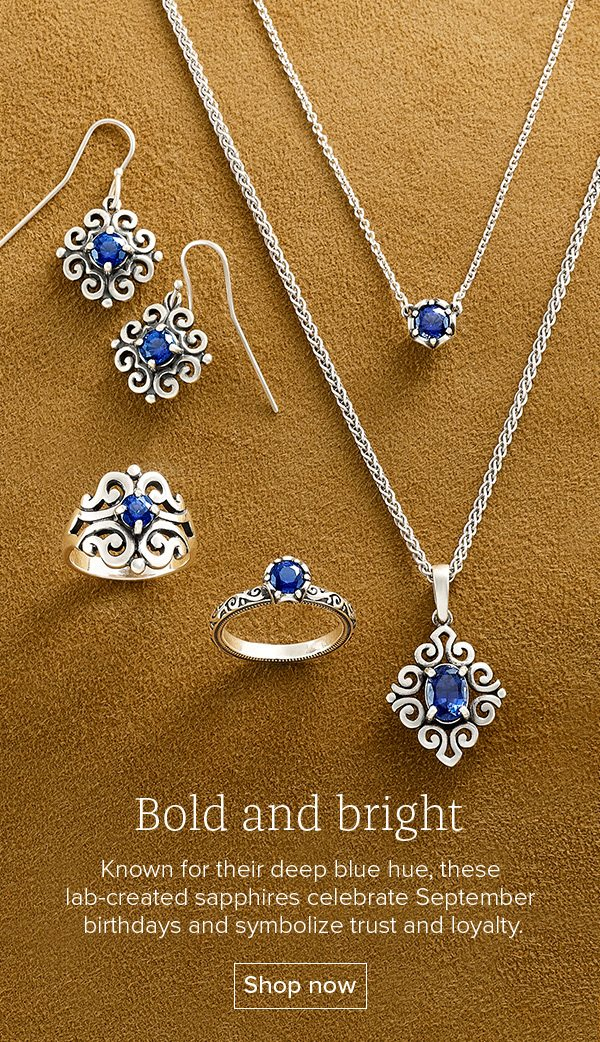 Bold and bright - Known for their deep blue hue, these lab-created sapphires celebrate September birthdays and symbolize trust and loyalty. Shop now