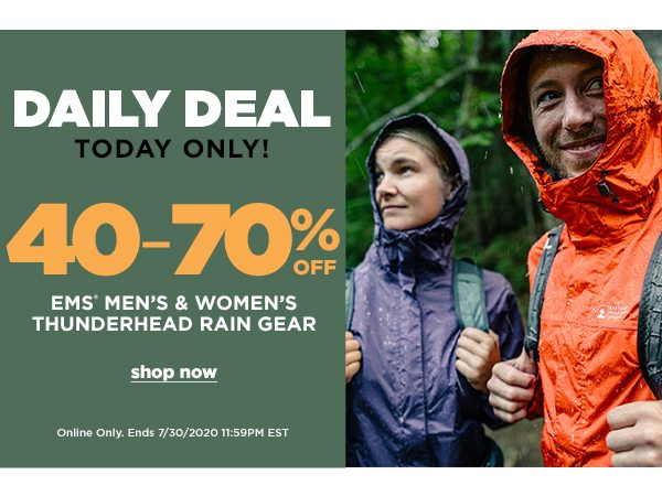 Daily Deal: 40-70% OFF 70% OFF EMS Men's & Women's Thunderhead Rain Gear - Online Only - Click to Shop
