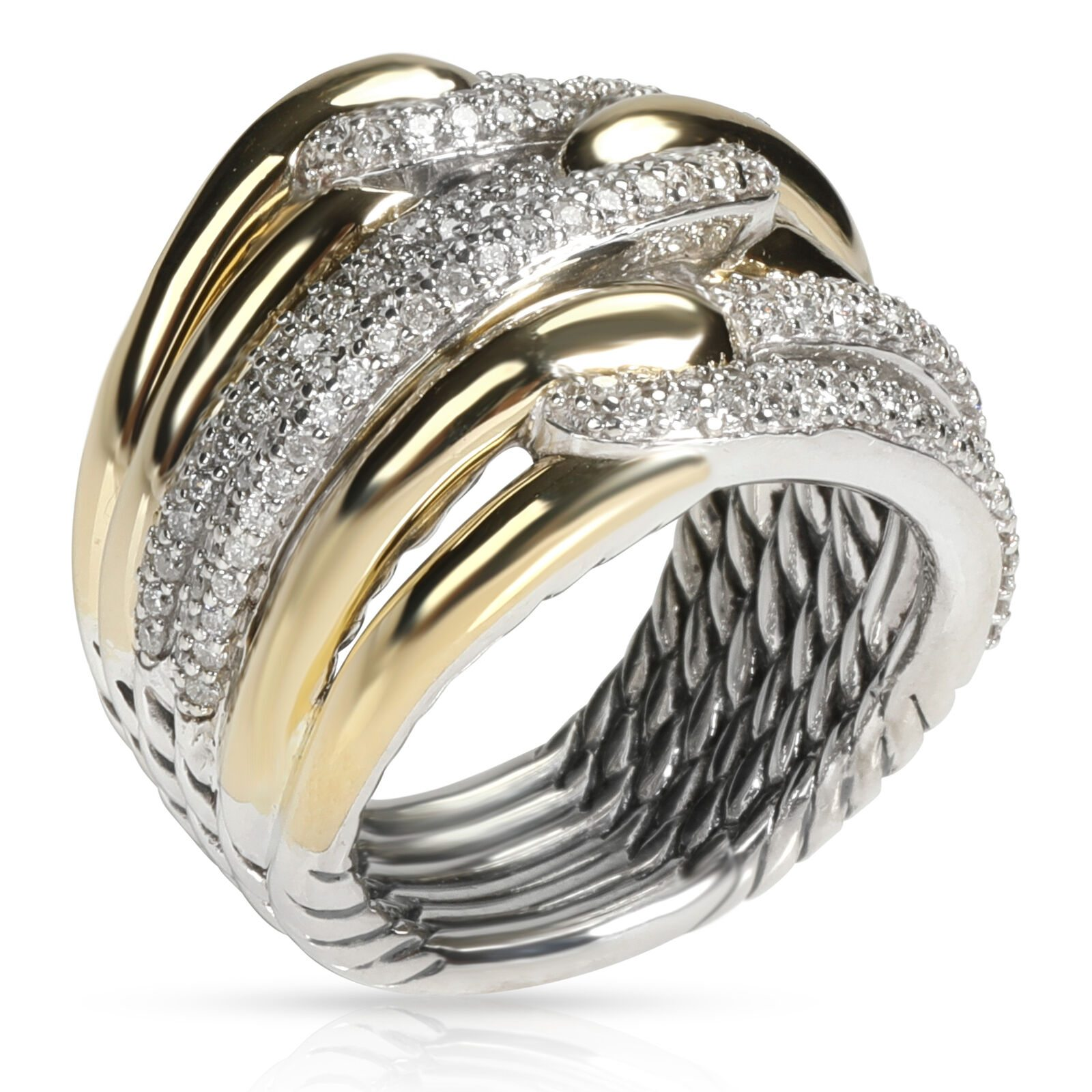Image of David Yurman Labyrinth Diamond Ring in 18K Yellow Gold/Sterling Silver 1 CTW