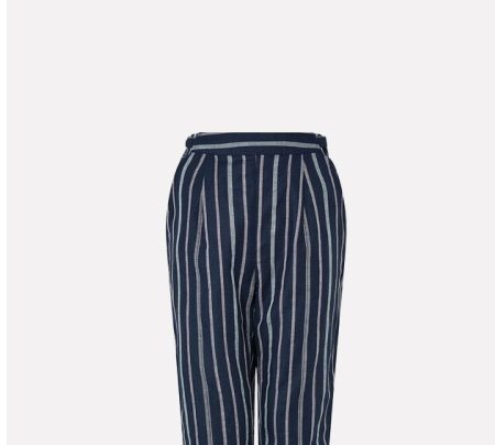Sandra stripe trousers in linen and organic cotton blue