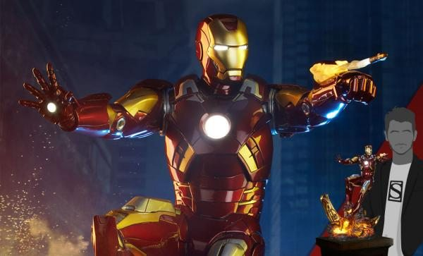 Features a light up arc reactor, eyes, and repulsors Iron Man Mark VII Maquette