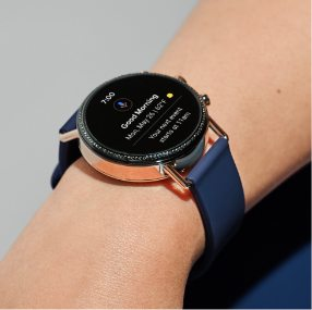 Falster 2 smartwatch with a blue silicone strap and rose gold-tone accents.