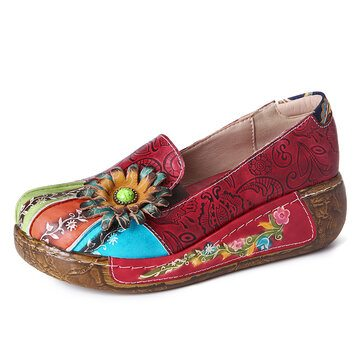 SOCOFY Floral Leather Slip On Shoes