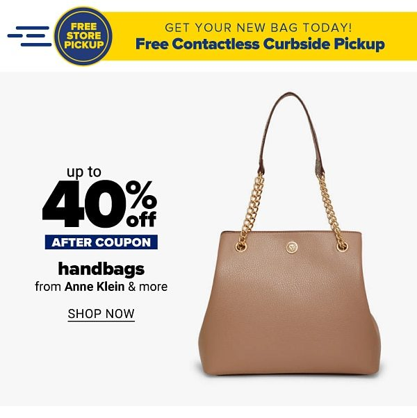 Up to 50% off handbags - after coupon - from Anne Klein & more. Shop Now.