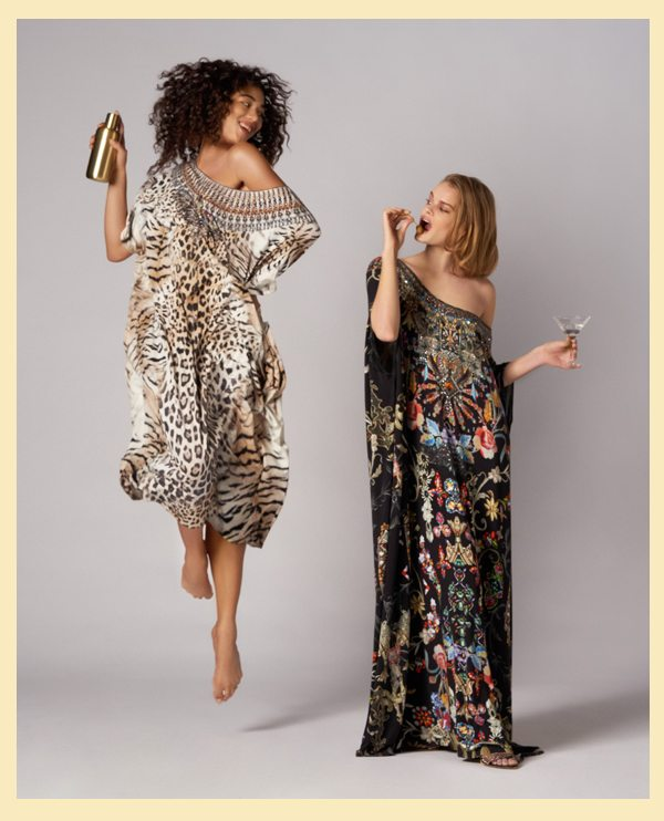 Models wearing jaguar and dancing in the dark round neck kaftans with cocktail shaker and glass