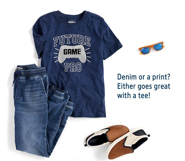 Denim or a print? Either goes great with a tee!