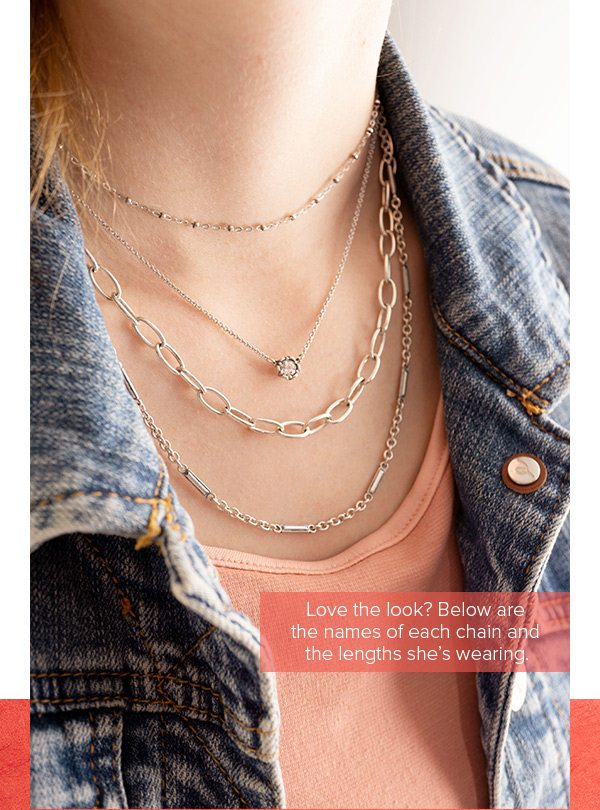Love the look? Below are the names of each chain and the lengths she's wearing.