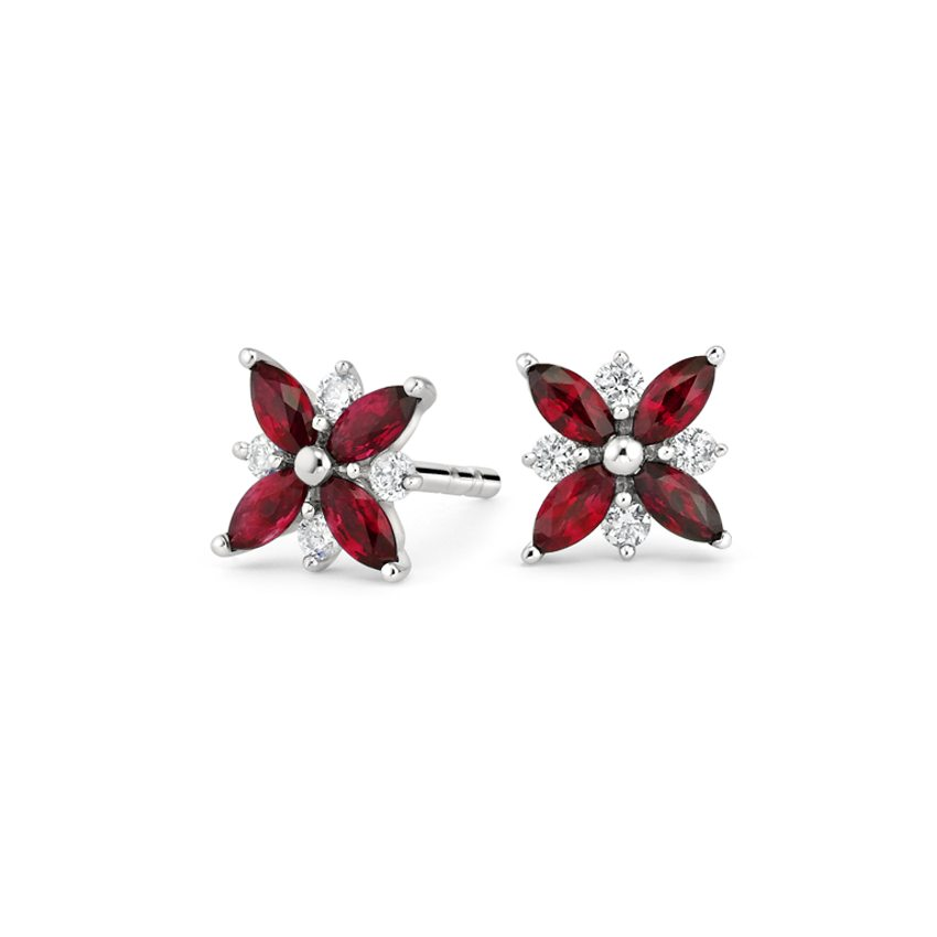 18K White Gold Petal Lab Ruby and Diamond Earrings