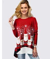 Faux Two Piece Christmas T Shirt