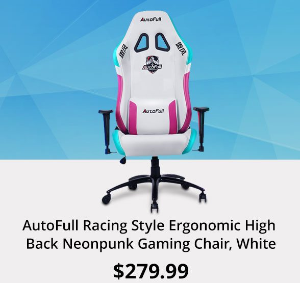AutoFull Neonpunk Gaming Chair Racing Style Ergonomic High Back Computer Chair with Height Adjustment, Headrest and Lumbar Support E-Sports Swivel Chair, White