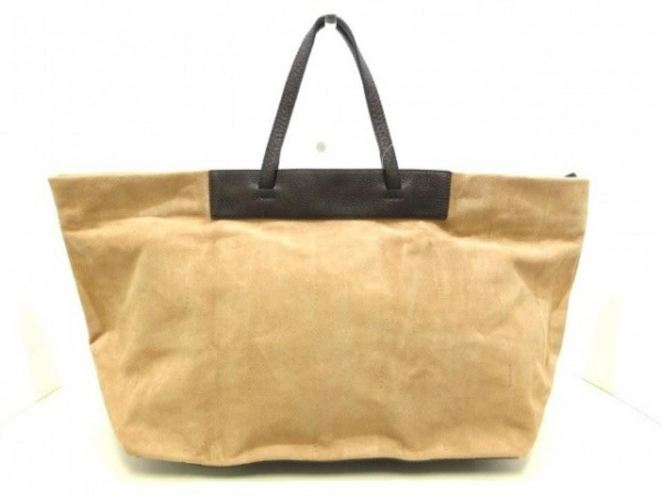 Image of Fendi Large Logo All Over 239767 Beige X Dark Brown Suede Leather Tote