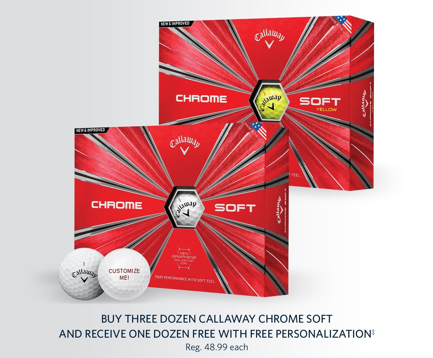 Buy Three Dozen Callaway Chrome Soft and Receive One Dozen Free with Free Personalization‡ | Reg. 48.99 each