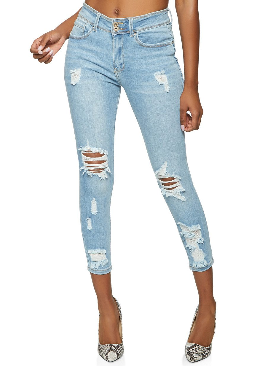 WAX Two Button Distressed Skinny Jeans