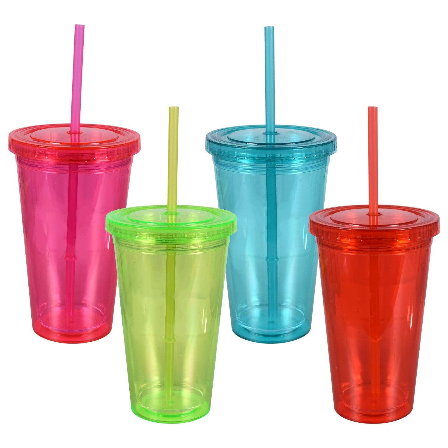 Double-Wall Translucent Plastic Tumblers with Lids and Straws, 16 oz.