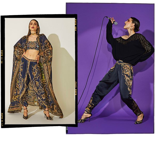 Model wearing Navy and gold printed pants, bandeau and robe.