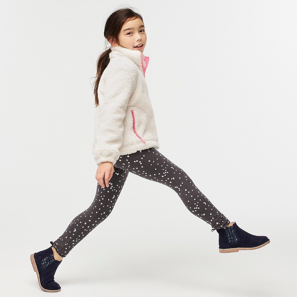 Girls' everyday leggings in stars and moons