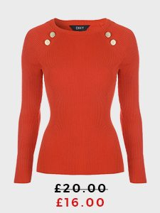 Red Jumper With Gold Button Detailing
