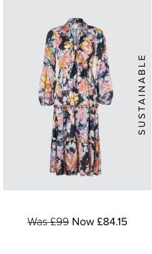 MARIE FLORAL SATIN DRESS WITH RECYCLED POLYESTER