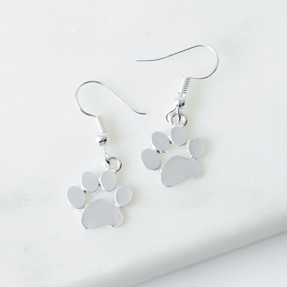 Image of My Favorite Little Paws Silver Dangle Earrings