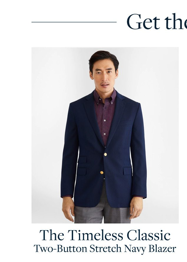 The Timeless Classic Two Button Stretch Navy Blazer