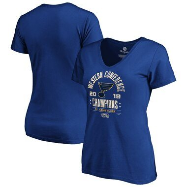 St. Louis Blues Fanatics Branded Women's 2019 Western Conference Champions Defensive Zone V-Neck T-Shirt – Royal