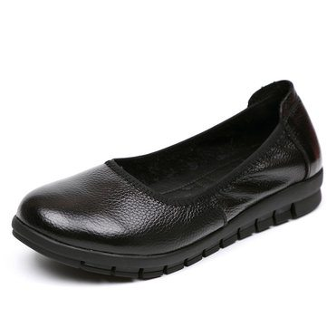 SOCOFY Casual Slip On Leather Soft Shoes