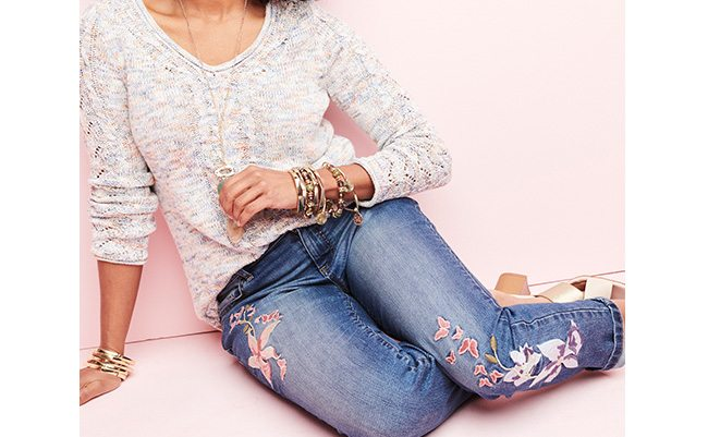 What's New & Now. The latest arrivals give us reasons to be social again. Jeans made modern with embroideries & cuffs.