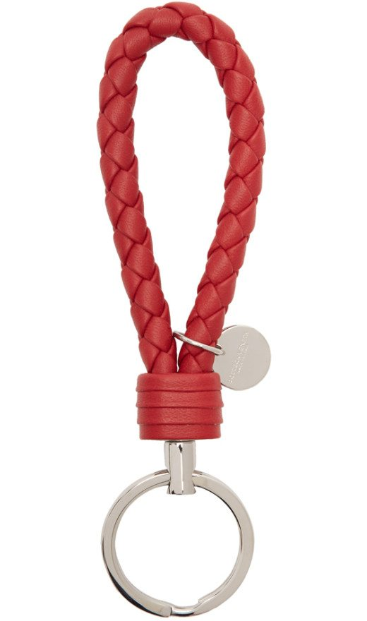 Bottega Veneta - Red Intrecciato Loop Keychain
