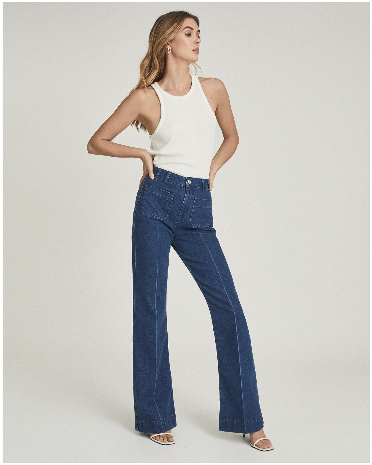 Isa Mid-Blue High Rise Flared Jeans