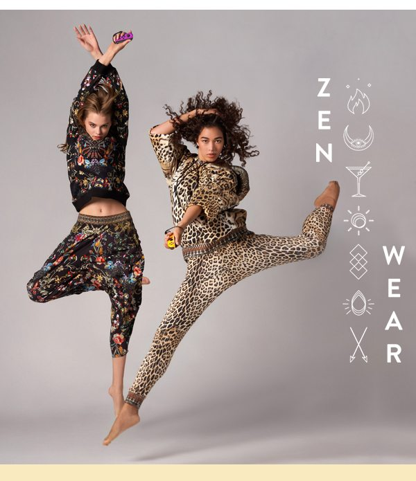 Models wearing new loungewear, jaguar hoodie and track pants and dancing in the dark sweater and pants.