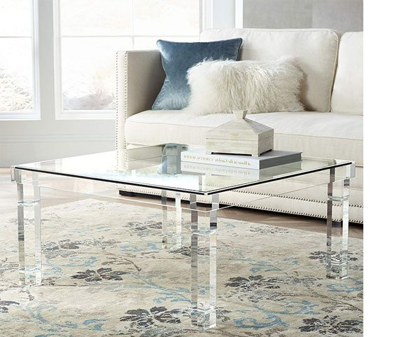"Bristol 36"" Square Clear Acrylic Coffee Table"