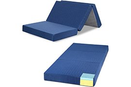 GranRest 4'' Tri Folding Memory Foam Mattress (Sing Size, 75 x 25) with Removable cover