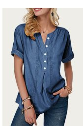 Split Neck Button Detail Short Sleeve Denim Blouse