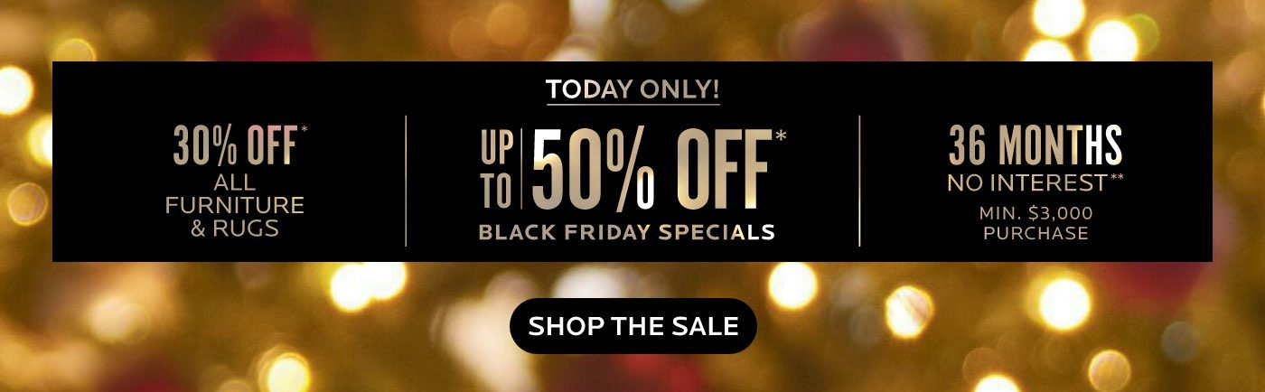 Today Only! Up to 50% Off Black Friday Specials, 30% Off All Furniture and Rugs and 36 Month Financing