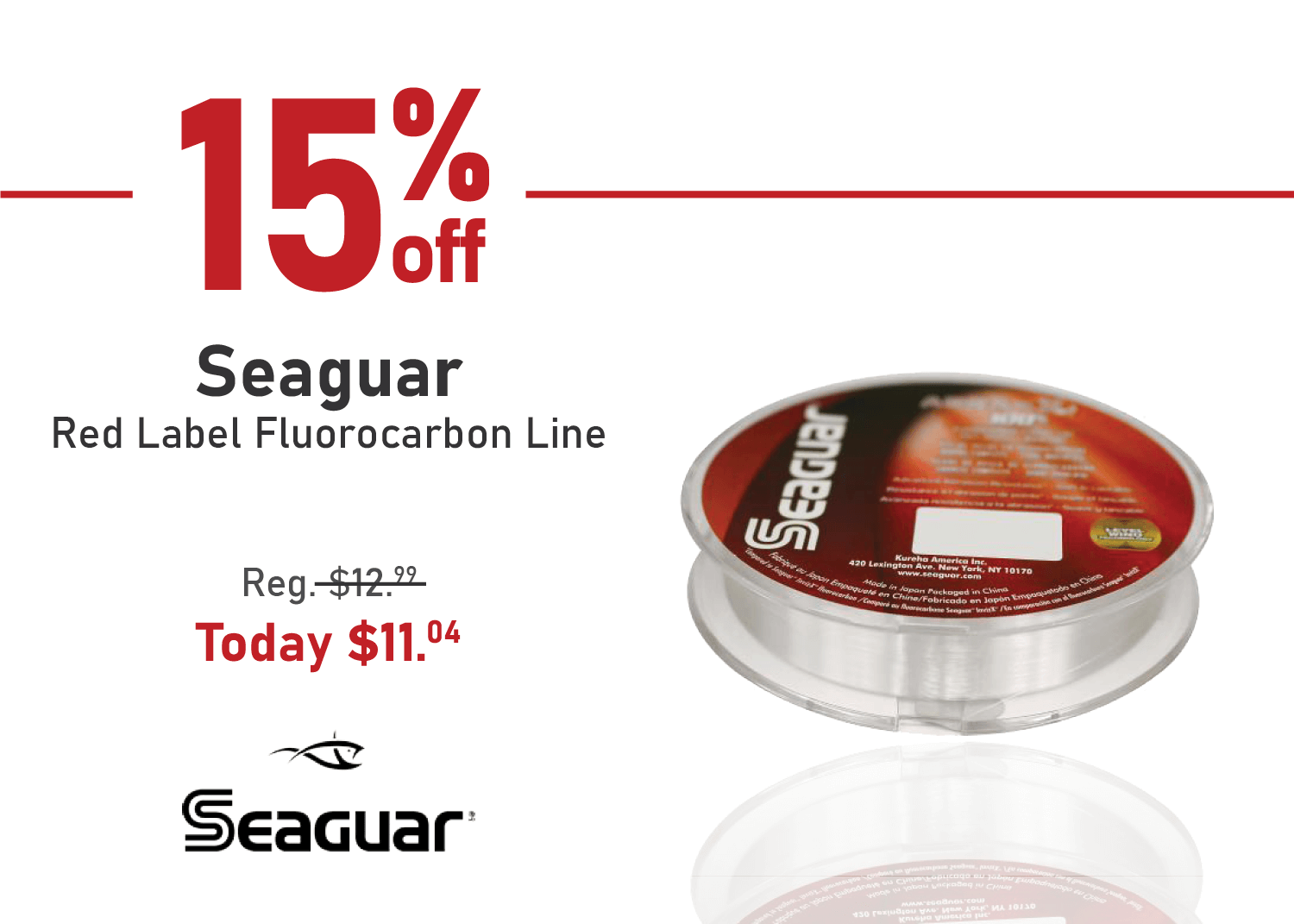 Save 15% on the Seaguar Red Label Fluorocarbon Line