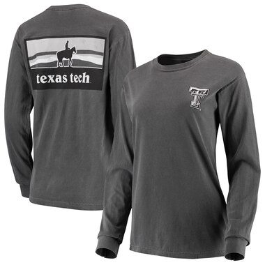 Texas Tech Red Raiders Women's Comfort Colors Campus Skyline Long Sleeve Oversized T-Shirt - Charcoal