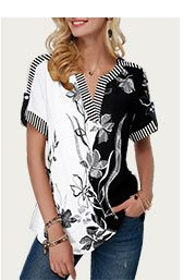 Split Neck Roll Tab Sleeve Flower Print Blouse