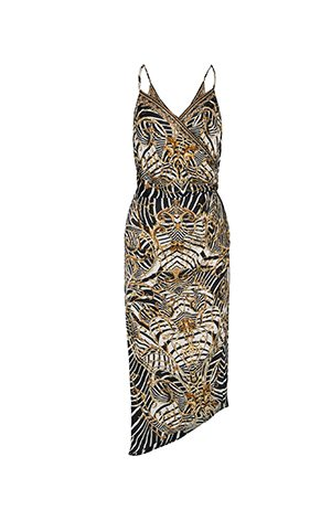 ASYMMETRICAL WRAP DRESS WITH STRAPS NIGHT WAITING FOR DAY