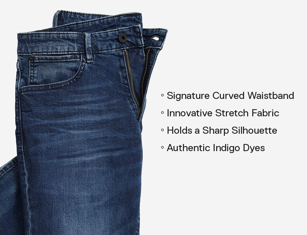 Signature Curved Waistband // Innovative Stretch Fabric // Holds a Sharp Silhouette // Authentic Indigo Dyes →