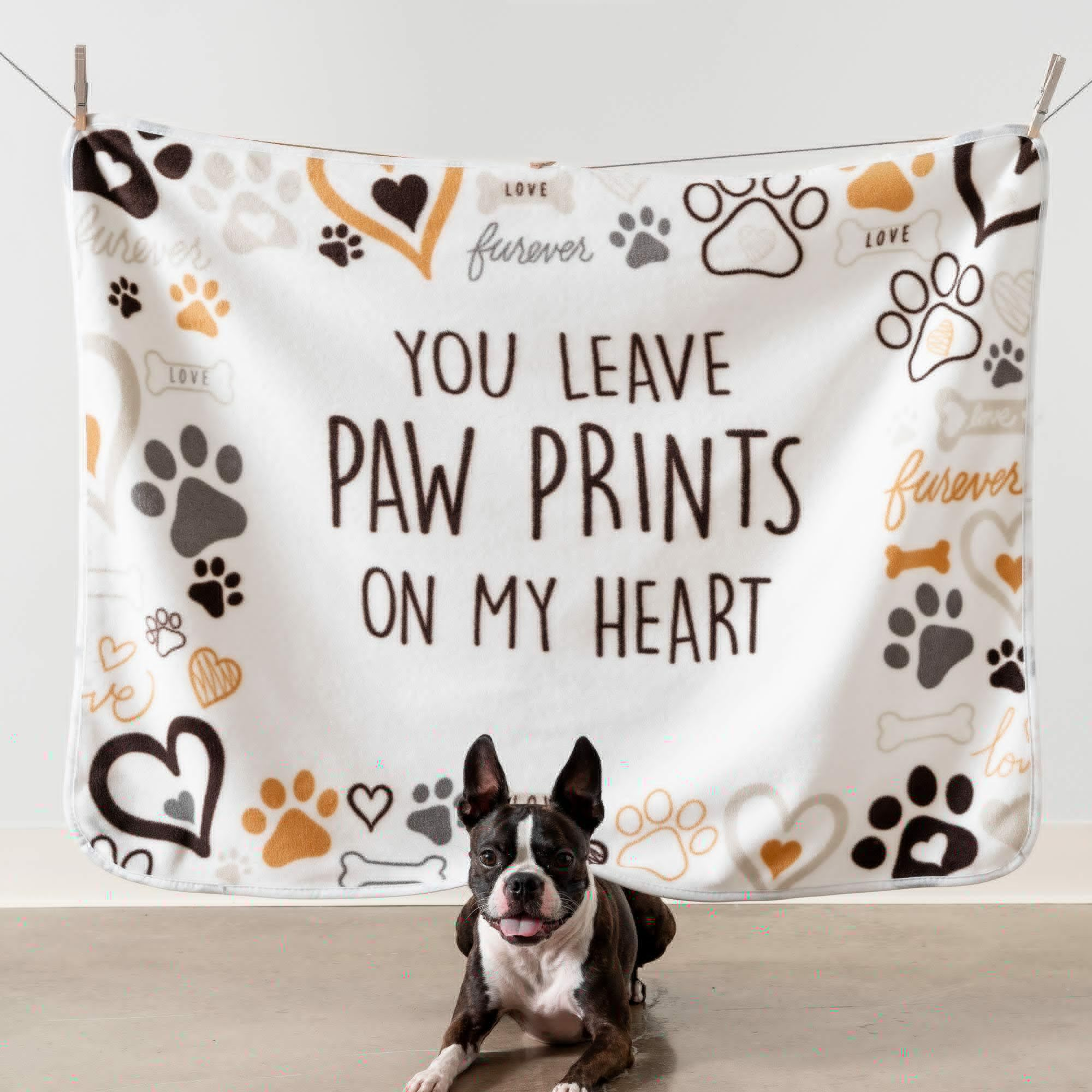 Image of Give Warmth™️ Buy One Give One Fleece Dog Blanket: You Leave Paw Prints on My Heart 30″ x 40″