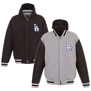 Los Angeles Dodgers JH Design Heavyweight Reversible Full Snap Hoodie - Gray