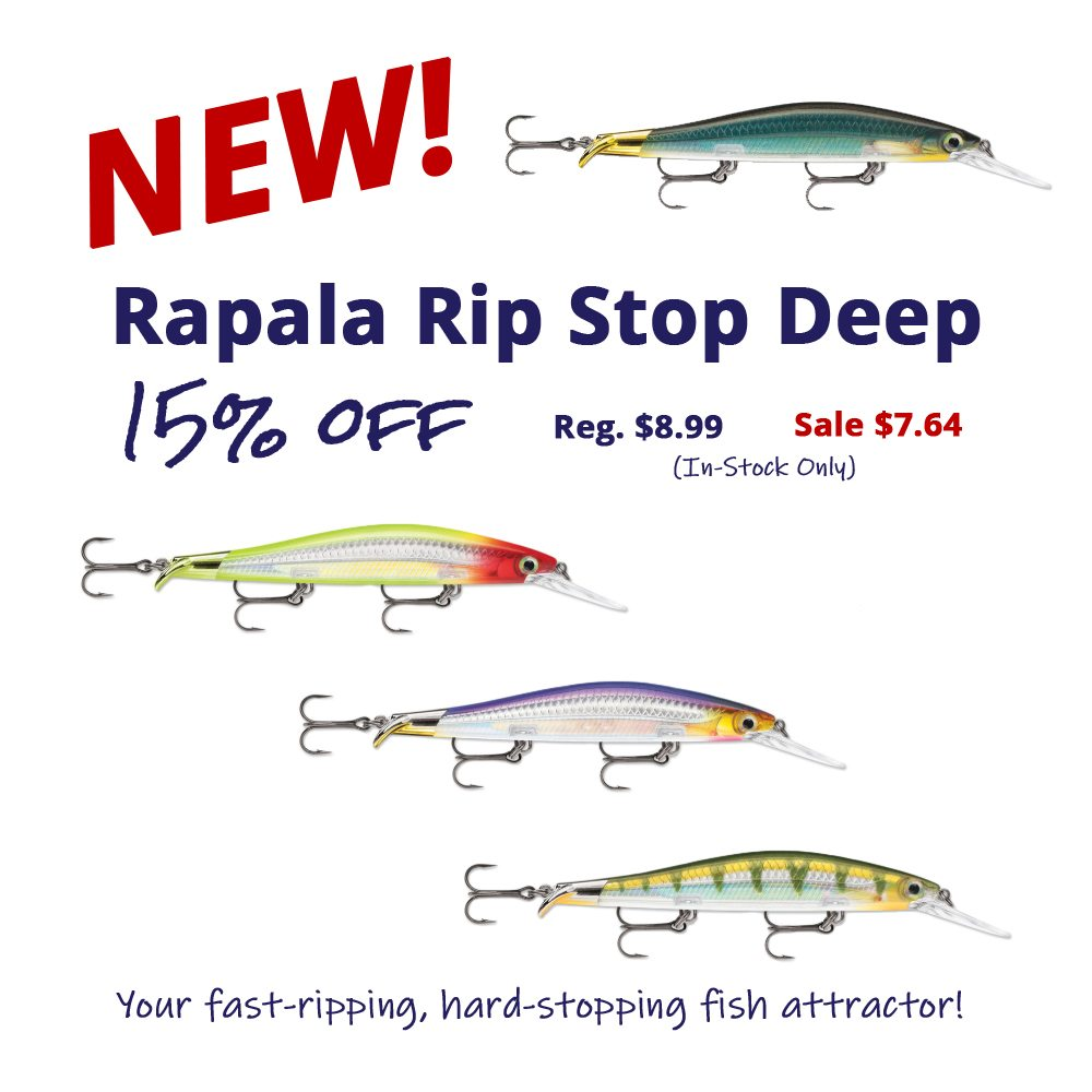 Take 15% off your fast-ripping, hard-stopping fish attractor - the Rapala Rip Stop Deep!